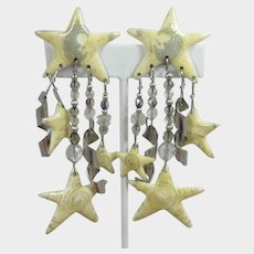 Lunch At The Ritz Man in the Moon and Stars Dangling Earrings