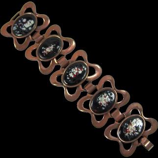 Rebajes Wide Copper and Black, Cream and Red Enameled Bracelet