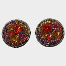 Orange, Topaz and Pink Rhinestone Earrings