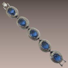 High-Domed Link Bracelet with Unfoiled Blue Oval Rhinestones