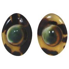 Operculum and Faux Tortoise Shell Earrings