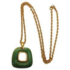 Trifari Imitation Jade Modernistic / MOD Pendant Necklace