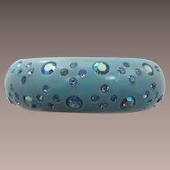 Fabulous Signed Weiss Aqua Clamper Bracelet