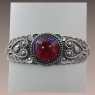 Sterling Silver Fred Harvey Era Bracelet with Dragon's Breath Fire Opal Cabochon