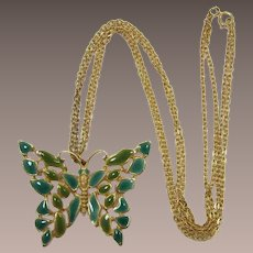 Teal Blue and Green Mosaic Look Enameled Butterfly Pendant Necklace
