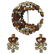 Smoky Topaz, Yellow and Topaz Rhinestone Pin and Earring Set