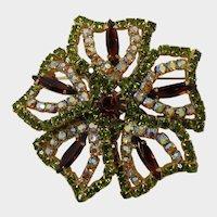 Sparkling Olivine and Smoky Topaz Rhinestone Flower Brooch