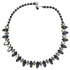 "Sparkling ""Black Diamond"" and Blue-Grey Navette Rhinestone Necklace"