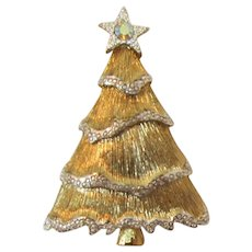 Elegant Liz Claiborne Gold-tone and Silver-tone Christmas Tree Pin