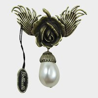 Botticelli Beautiful Rose Brooch with Large Pearl Drop