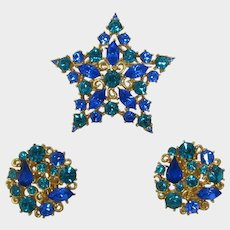 MJent Star Blue and Teal Glitzy Rhinestone Star Pin and Earrings