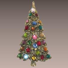 Beautiful Christmas Tree Pin with Flat-Back Rhinestones