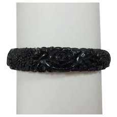 Beautiful Black Celluloid Bracelet - Hard to Find Color