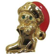 """Avon """"Holiday Cat in Boot"""" with a Santa Hat Christmas Pin - Book Piece"""