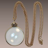 Beautiful Avon Gold-tone Magnifier Necklace with a Fabric Carry Pouch - New Old Stock