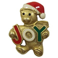 "Cute Danecraft Christmas Teddy Bear with Letters ""JOY"""