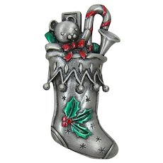 J.J. Jonette Jewelry Christmas Stocking Pin with Red and Green Enameling