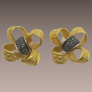 Festive Judith Jack Sterling and Marcasite Bow Earrings