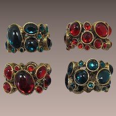 Christmas Holiday Jeweled Rhinestone Napkin Rings - 2 Red and 2 Green