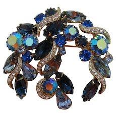 Beautiful Blue Navette and Pear-Shaped Rhinestone Brooch