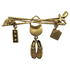 Danecraft Golfer's Brooch with Golf Theme Dangling Charms