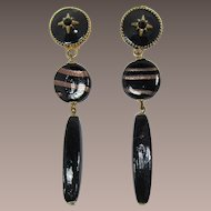 Fab Black Glass and Rhinestone Shoulder Duster Earrings