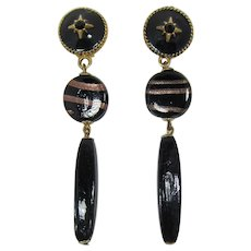 Fab Black Glass and Rhinestone Shoulder Duster Earrings