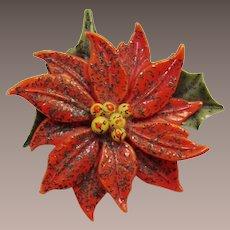 Christmas Poinsettia Thermoplastic Pin