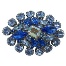Sparkling Domed Brooch of Blue and Light Blue Swarovski Rhinestones