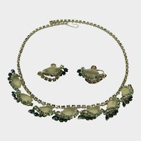 Pale Yellow and Green Rhinestone Necklace and Earring Set