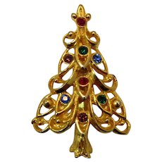 Eisenberg Ice Christmas Tree Pin with Jewel Tone Rhinestones