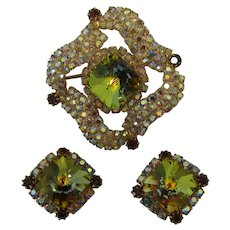 Green Rivoli Rhinestone Brooch and Earrings Set