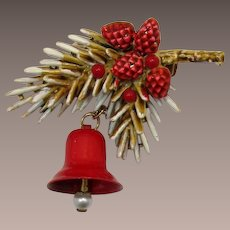 ART Christmas Tree Boughs and Dangling Bell Brooch