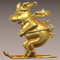 J.J. Jonette Jewelry Bright Gold-tone Pig on Skiis Pin