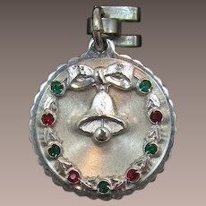 Sterling Silver Christmas Charm with Red and Green Rhinestones