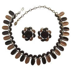 Signed Lisner Fall Moonglow Necklace and Earring Set