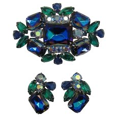 Beautiful Blue Heliotrope Rhinestone Brooch and Earrings Set