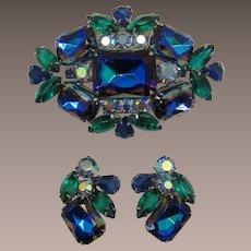 Beautiful Blue Heliotrope Rhinestone Brooch and Earrings Set
