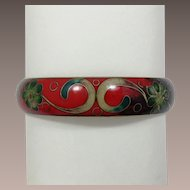 Enameled Bangle Bracelet with Christmas Colors of Red and Green