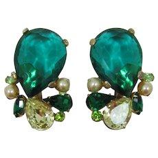 Huge Emerald Rhinestone Earrings