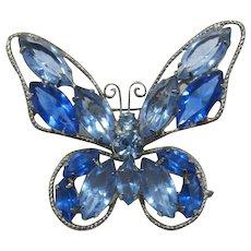 Shades of Blue Rhinestone Butterfly Brooch