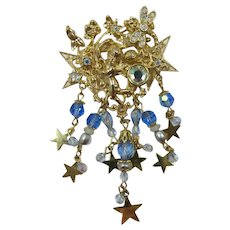 Kirk's Folly Ornate Angel Brooch with Dangling Stars