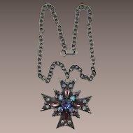 Florenza Lavender Cabochon Maltese Cross Necklace