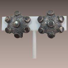 "Vendome Pewter-Colored ""Brutalist"" or Modernist Earrings"