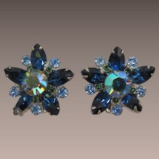 D&E Juliana Blue Navette and Green AB Star Earrings