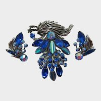 Silver-tone Hanging Navette Leaves and Flowers Brooch and Earrings Set