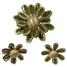 Fun Gold-tone and Olive Green Enameled Flower Pin and Earrings Set