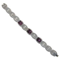 Edwardian Art Deco Era Chromium and Faceted Imitation Amethyst Bracelet