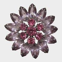 Sparkling Lavender and Pink Rhinestone Flower Brooch