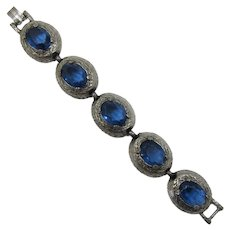 Silver-tone Link Bracelet with Blue Oval Rhinestones